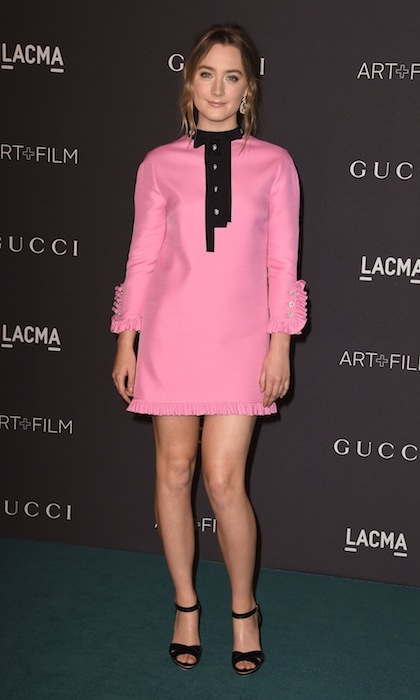 'Brooklyn' star Saoirse Ronan dazzled in a buttoned-up pink minidress from Gucci's 2016 resort collection at the LACMA Art+Film Gala in Los Angeles. 