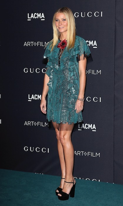 Mom-of-two Gwyneth Paltrow proved she has legs for days in a glittery green Gucci frock at LACMA's Art+Film gala. Photo: © Getty Images