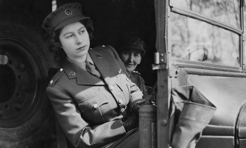 Before she was Queen, Princess Elizabeth worked for the Auxiliary Territorial Service during the war. She is seen here driving an ambulance.
