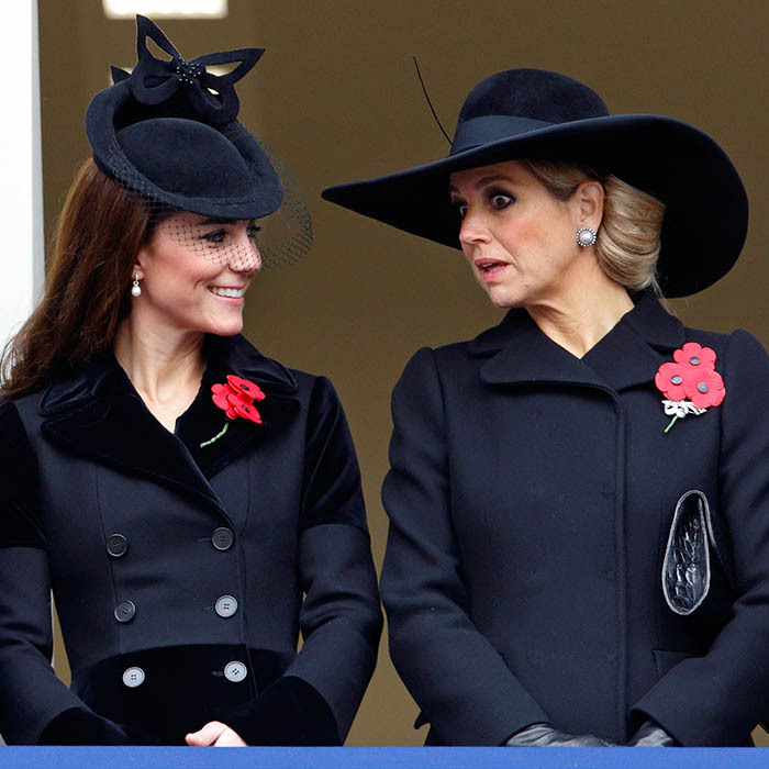 The Duchess of Cambridge and Queen Maxima of the Netherlands shared a friendly catch up at the annual Remembrance Sunday Service at London's Cenotaph. 