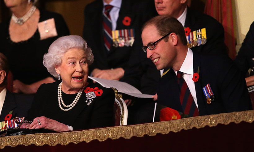 The Queen enjoyed the company of Prince William at the Annual Festival of Remembrance presented at London's Royal Albert Hall.