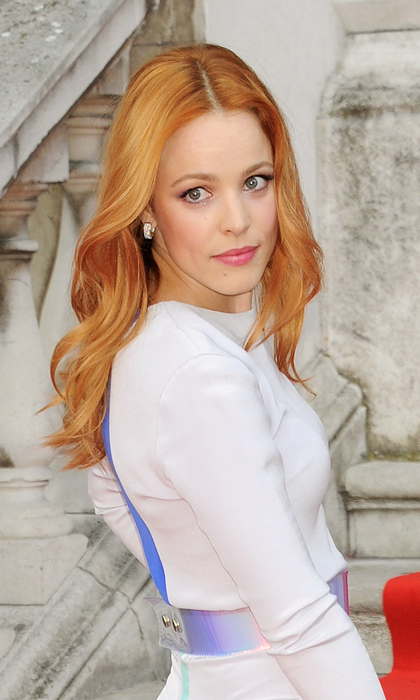 Rachel goes for long strawberry blond waves while visiting London for the première of her film <em>About Time</em> in August 2013.