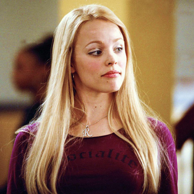 With perfectly straight blond hair, Rachel transforms into Regina George for <em>Mean Girls</em>.