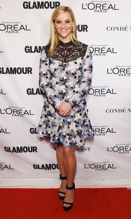 Adorable as always, Reese Witherspoon wore a frilly, floral Erdem Resort 2016 cocktail dress at the 2015 Glamour Women of the Year Awards in New York, where she picked up the Hollywood Hero trophy.