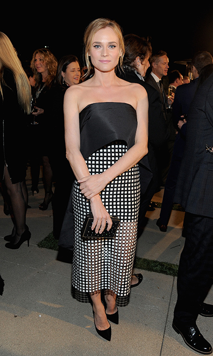 Diane Kruger is perfectly on point in this black-and-white strapless Monqiue Lhuillier gown with a check skirt and point-toe black heels at the Screen Actors Guild Foundation's 30th Anniversary Celebration in L.A. 