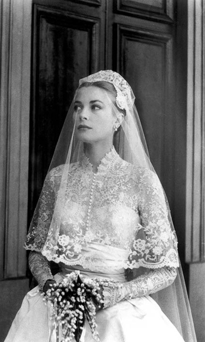 The epitome of elegance for her wedding to Prince Rainier III of Monaco in April 1956
