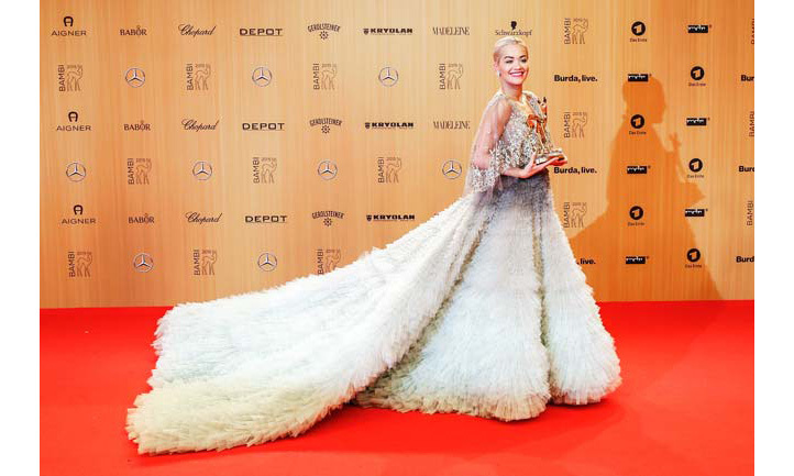 <p>It was all eyes on <strong>Rita Ora </strong>as she stepped out in a showstopping pale-green tulle gown from <strong>Marchesa</strong> on Thursday night.</p>