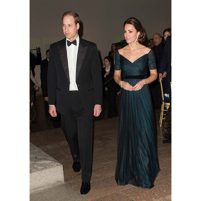 This midnight-blue Jenny Packham gown is one of the duchess's favourites, and she wore it three times in 2014. This occasion it was at a gala dinner in New York's Metropolitan Museum of Art.