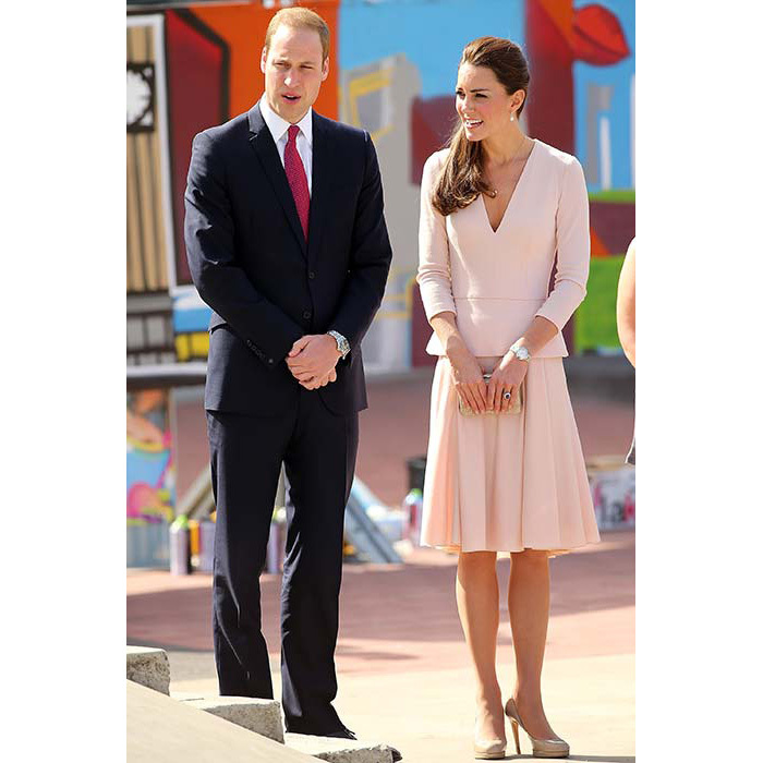 The duchess teamed a blush pink Alexander McQueen dress with her trusty pair of nude L.K. Bennett pumps for a trip to the skate park in Adelaide.