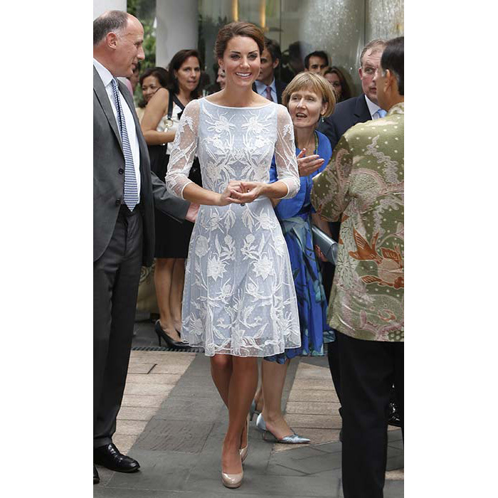 Alice Temperely's pale-blue dress kept the duchess cool but covered up to respect Malaysia's customs.