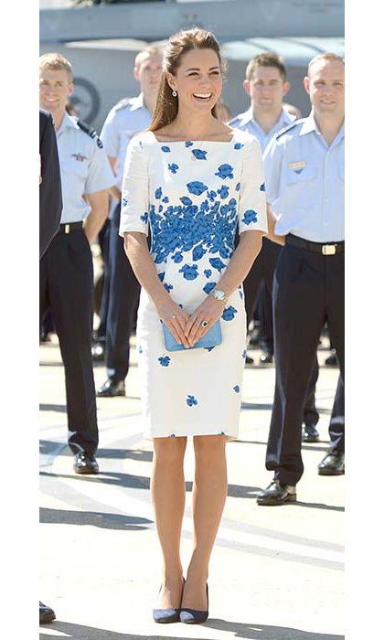 The duchess chose a blue poppy-print L.K. Bennett dress to visit the Royal Australian Air Force Base in Amberley. She added sapphire-and-diamond drop earrings and a necklace by Mappin & Webb.