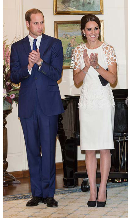 For a reception at Government House in Canberra, Kate wore a white cocktail dress by Texan designer Lela Rose.