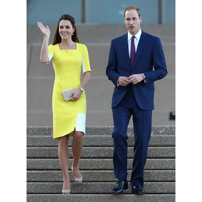 "The duchess made a bold fashion statement in a canary yellow Roksanda Ilincic dress and nude L.K. Bennett pumps. She later said that Prince William told her she ""looked like a banana!""