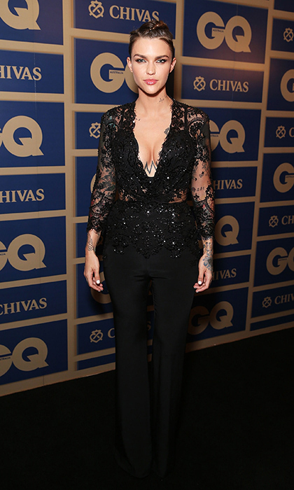 """Orange Is the New Black"" star Ruby Rose rocks an edgy lace jumpsuit from Zuhair Murad's Fall 2015 collection, featuring an embroidered top and crepe trouser for the GQ Men of the Year Awards in Sydney, Australia. 