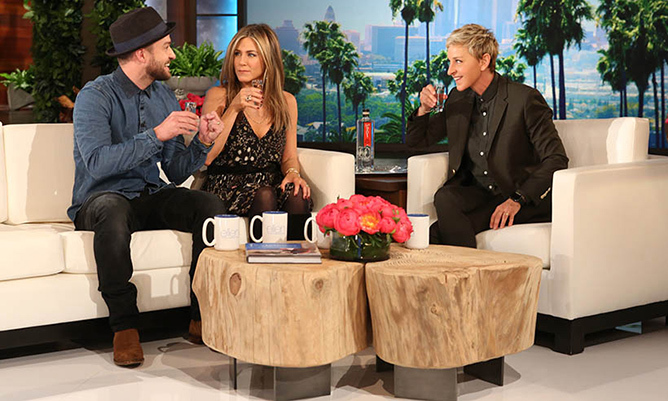 Justin Timberlake and Jennifer Aniston share a toast with Ellen DeGeneres to celebrate of the talk-show star's 2,000th TV show.