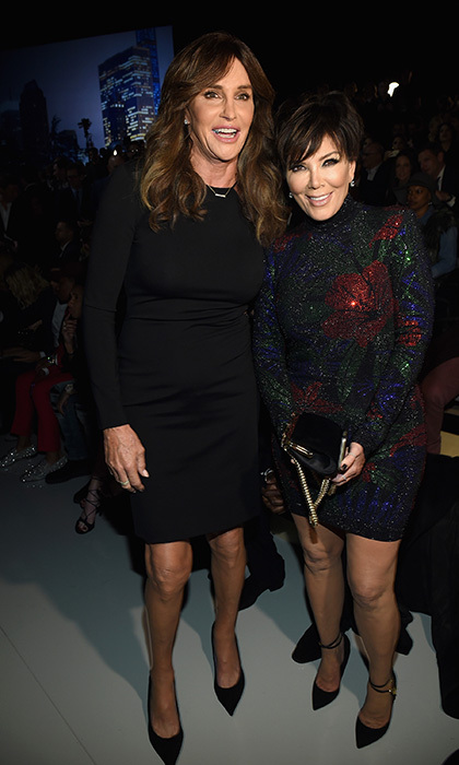 Caitlyn Jenner and Kris Jenner have a friendly meeting in New York City before watching their daughter Kendall make her debut at the Victoria's Secret fashion show. 