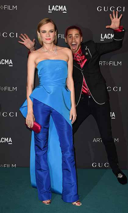 "Jared Leto is a true ""Joker"" as he photobombs  the stunning Diane Kruger on the red carpet at LACMA's Art+Film gala in Beverly Hills, Calif.