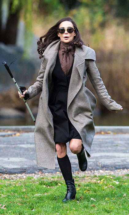 Demi Moore kicks up her heels while filming scenes for her new movie <em>Blind</em> in Harlem. 