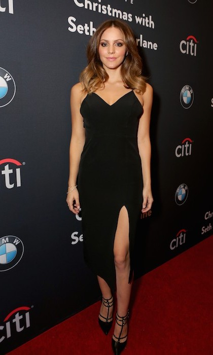 The thigh's the limit for singer Katharine McPhee, who turned heads in a sexy LBD at the Grove Christmas celebration in Los Angeles. 