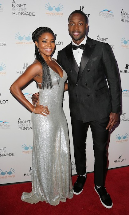 Loved-up couple Gabrielle Union and her husband Dwyane Wade stepped out at the NBA star's A Night on the RunWade charity fashion show in Miami. 