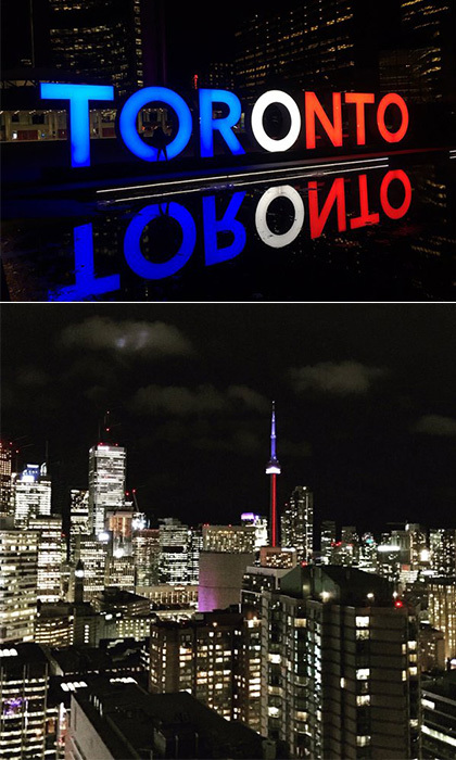 <strong>The CN Tower and the Toronto sign, Toronto, Canada</strong><br>