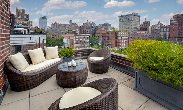 The property features stunning views of the city. 