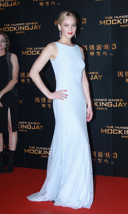 Jennifer Lawrence looked sophisticated in Beijing, wearing the palest-blue Dior Couture gown.