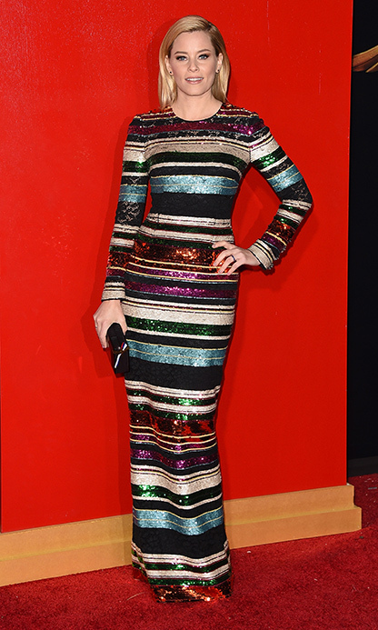 Elizabeth Banks dazzled in jewel-toned sequinned stripes at the Los Angeles premi`re.