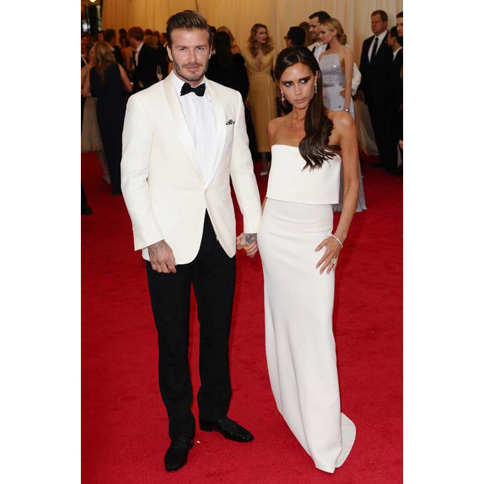 Rocking a white dinner jacket for the Met ball with Victoria in 2015
