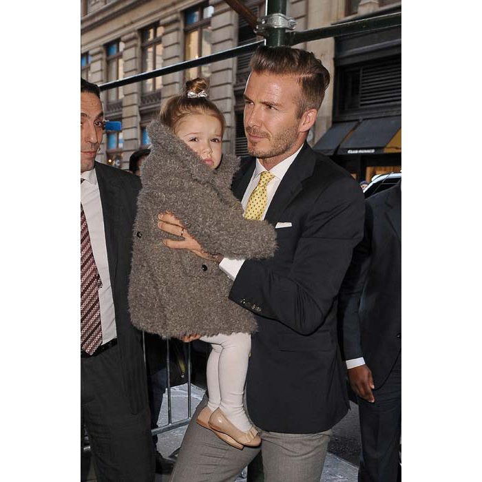 David melted hearts when he was snapped carrying his adorable little daughter Harper in New York.