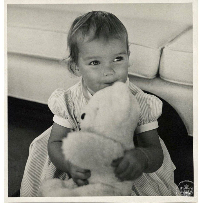 Princess Stephanie cuddles up to a teddy bear in 1968.