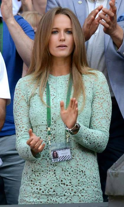 <strong>Kim Sears</strong> won best-dressed at Wimbledon 2013 with this mint green lace number by Victoria Beckham.