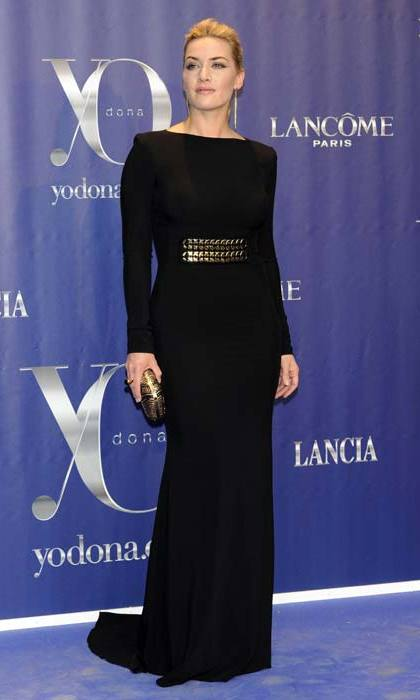 Victoria's designs are the perfect fit for <strong>Kate Winslet</strong>'s classic, elegant style. Here the actress sports a form-fitting black dress in 2012.