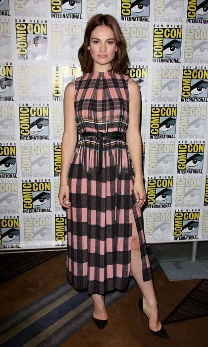 <em>Cinderella</em> star <strong>Lily James</strong> supporting the British designer at a photo call for <em>Pride and Prejudice and Zombies</em> in July.