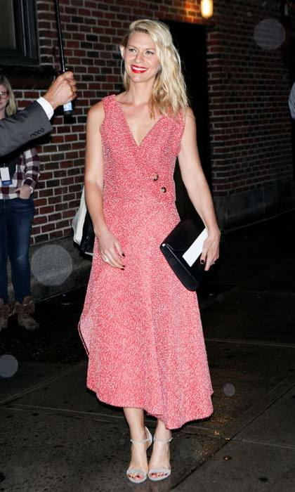 <em>Homeland</em> star <strong>Claire Danes</strong> sported this pink wrap number that was also seen on the designer herself.