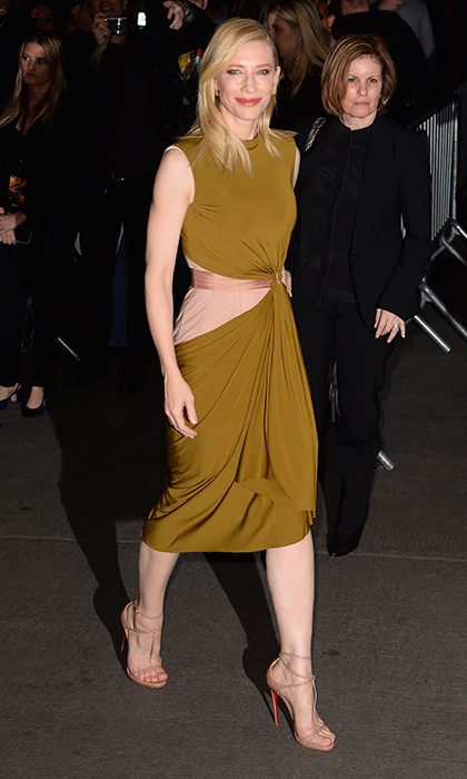 <p>Cate Blanchett is positively sublime in this gold Lanvin cocktail dress and nude Christian Louboutin sandals for the New York premi&egrave;re of <em>Carol</em>.</p> 