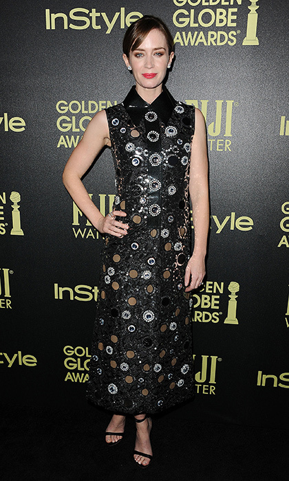 <p>Emily Blunt nails the edgy-yet-polished look with this Marc Jacobs Resort 2016 dress dotted with metallic sequins at the HPFA and InStyle Celebration of the 2016 Golden Globe Award Season party.</p> 