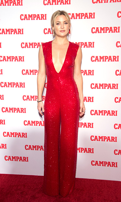 <p>Kate Hudson dazzles in a candy apple-red, sequin Naeem Khan jumpsuit at the 2016 Campari Calendar Launch in New York City.</p> 