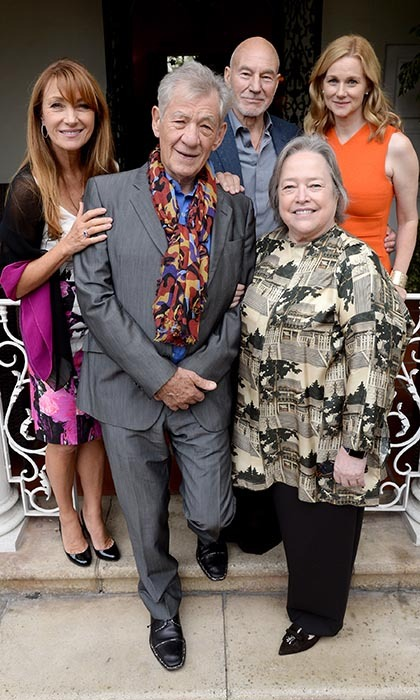 <p>The British consul-general of the U.S. invited some of Sir Ian McKellan's friends to help toast the legendary actor at a special lunch in his honour. From left: Jane Seymour, Patrick Stewart, Kathy Bates and Laura Linney. </p>