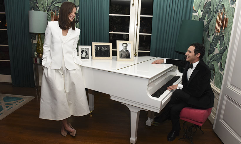 "<p>""This one's for you Katie!"" Designer Zac Posen serenades actress Katie Holmes at ""An Intimate Celebration Honoring WWD and Variety Stylemakers Designer of the Year"" gala in Los Angeles.</p>