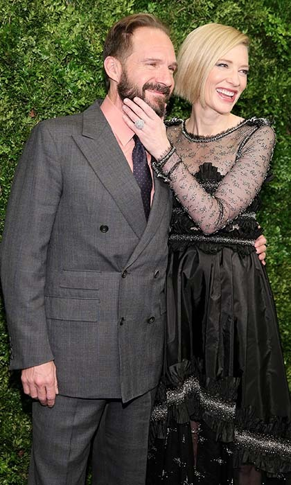 <p>Acting co-stars Ralph Fiennes and Cate Blanchett (<em>Oscar and Lucinda</em>) catch up at the Museum of Modern Art's 8th Annual Film Benefit in New York City.</p>