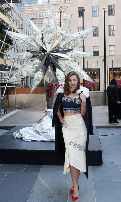 <p>Supermodel Miranda Kerr kicks off the holiday season at the Swarovski Star unveiling ceremony at Rockefeller Plaza in New York City.</p> 