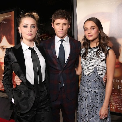 <p> <em>The Danish Girl</em> cast, from left: Amber Heard, Eddie Redmayne and Alicia Vikander, reunited at the film's première in Los Angeles.</p>