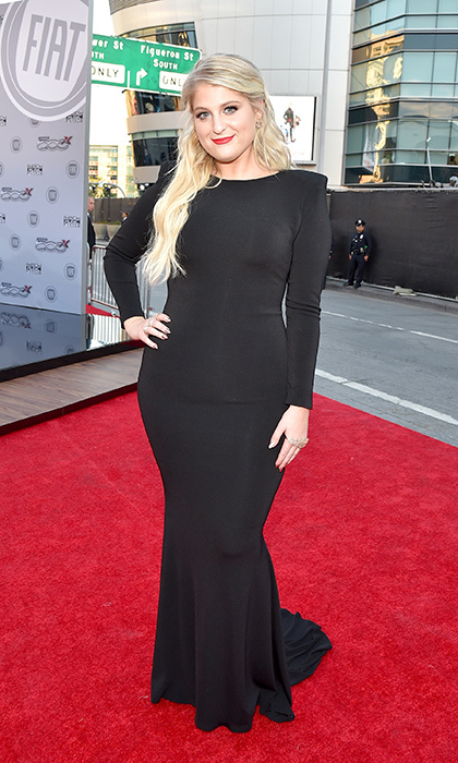 <p>Meghan Trainor in Michael Costello.</p>