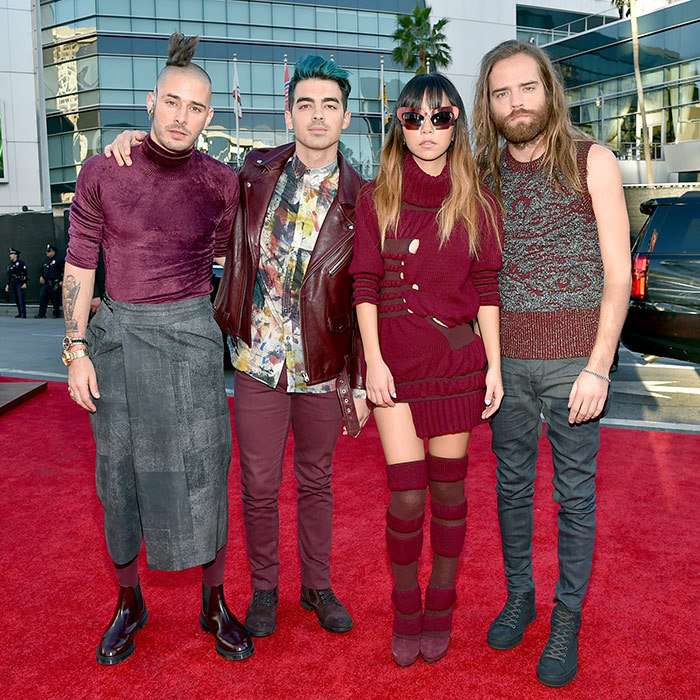 <p>Joe Jonas with his  band, DNCE.</p> 