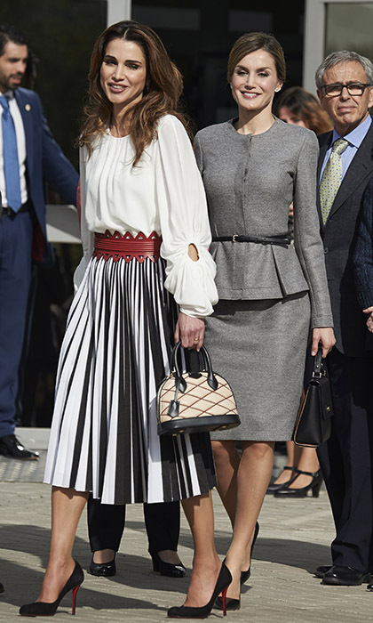 <p>Queen Rania and Queen Letizia prove fashion royalty yet again on a stylish outing to the Molecular Biology Center at Autonoma University in Madrid on Nov. 20.</p>