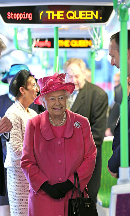 <p>Queen Elizabeth beams as she rides a tram on the Metroline Tramline Extension on Nov. 19 in London following a major refurbishment. Next stop, The Queen!</p>