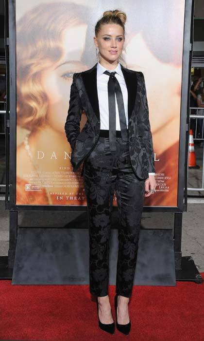 <p>Amber Heard was the epitome of cool in her patterned Dolce & Gabbana tuxedo at a première.</p>