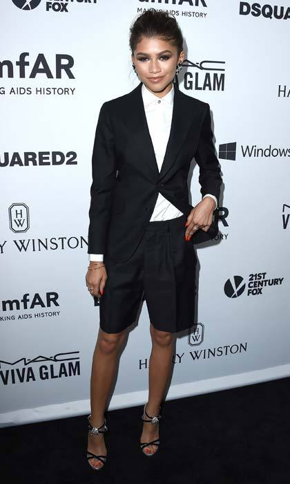 <p>Zendaya putting a spin on the traditional tuxedo with a shorts version.</p>