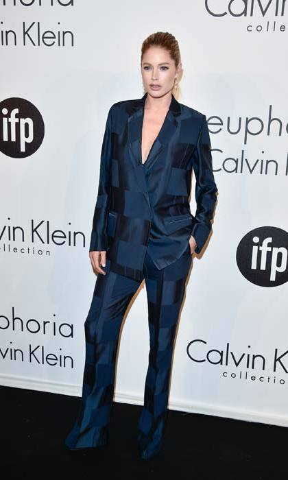 <p>Doutzen Kroes scoring serious style points in her navy blue check tuxedo at Cannes Film Festival in 2015.</p>